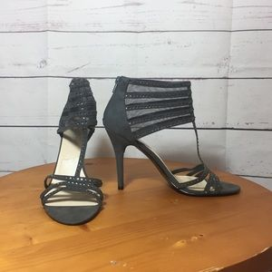 Nine West gray rhinestone embellished heels mesh